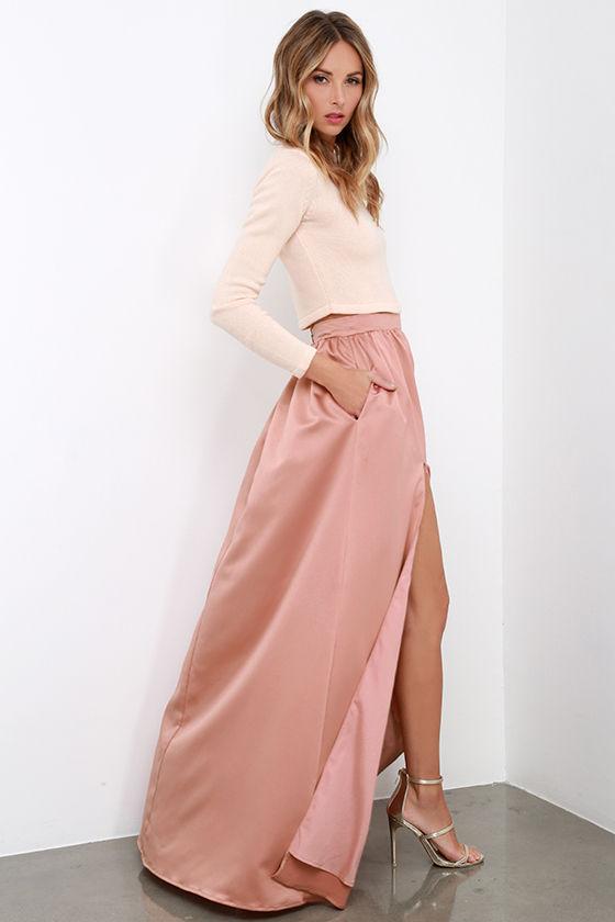 Blush Pink Maxi Skirt - Skirts