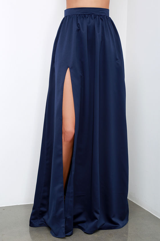 Beautiful Navy Blue Skirt - Maxi Skirt - Slit Skirt - $62.00