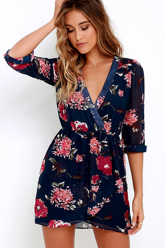 Pretty Pretender Navy Floral Print Dress 1