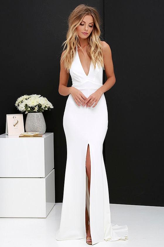 Ivory Dress - Maxi Dress - Halter Dress - White Dress - $98.00