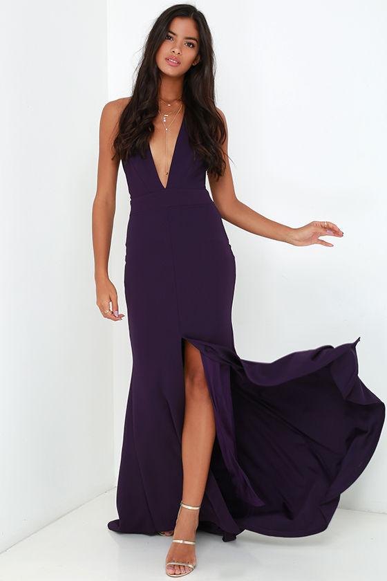 Purple Dress - Maxi Dress - Halter Dress - Backless Dress - $98.00