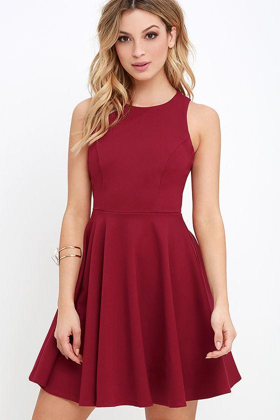 Berry Red Dress - Skater Dress - Sleeveless Dress -  48.00 705c95886
