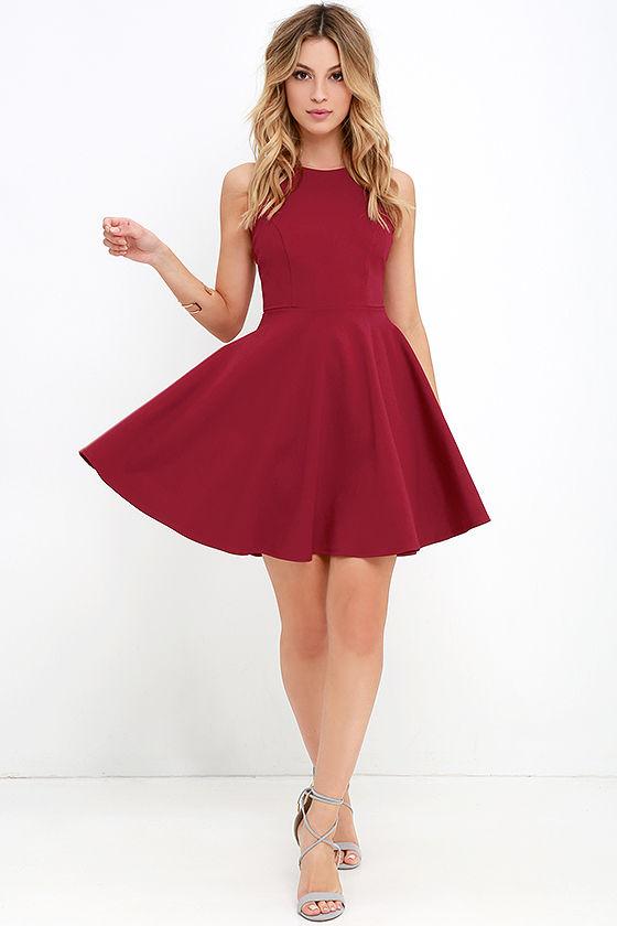 Berry Red Dress - Skater Dress - Sleeveless Dress - $48.00