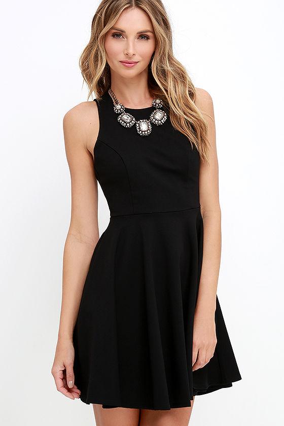 d4d2d9bd84 Black Dress - Skater Dress - Sleeveless Dress -  48.00