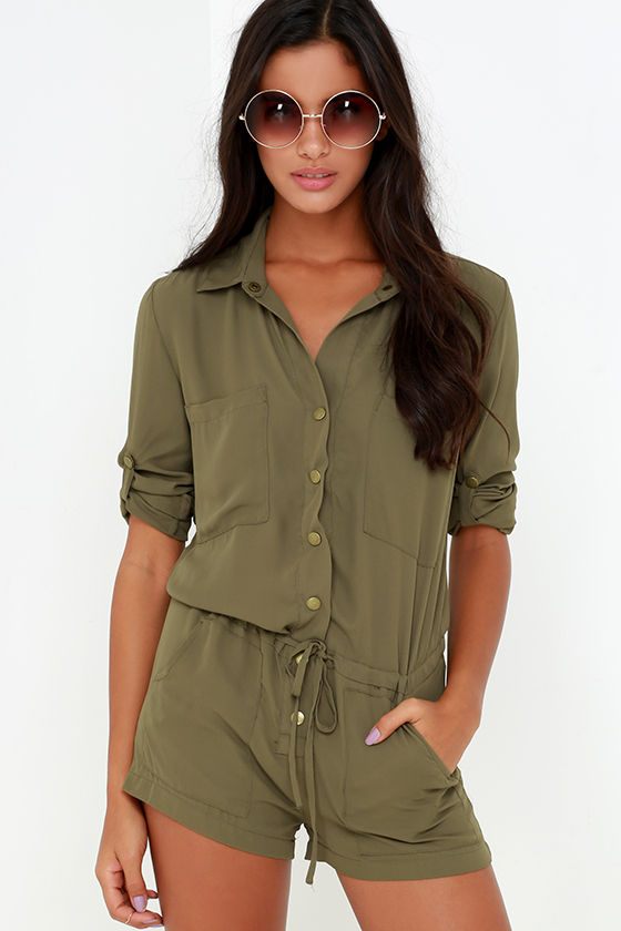 60ead7d386c Olive Green Romper - Long Sleeve Romper -  62.00
