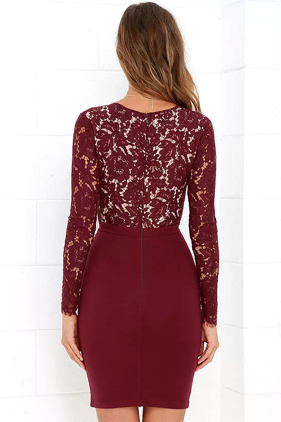 Swoon-er or Later Burgundy Long Sleeve Lace Dress 4