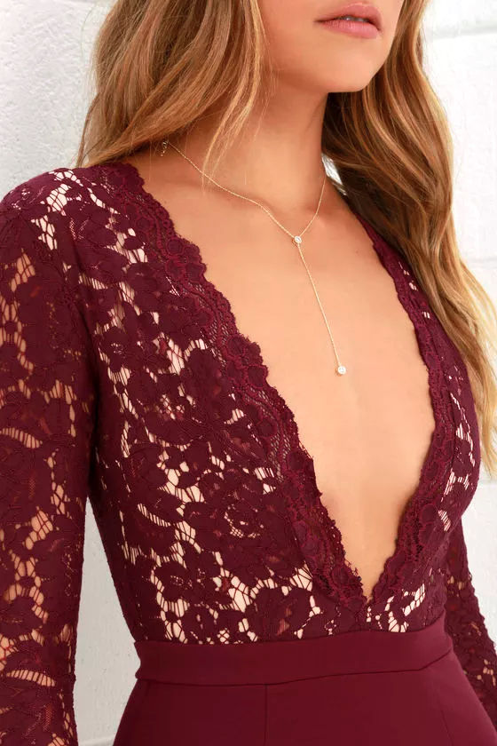Swoon-er or Later Burgundy Long Sleeve Lace Dress 6