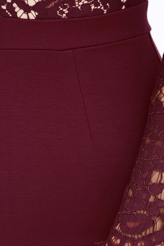 Swoon-er or Later Burgundy Long Sleeve Lace Dress 7