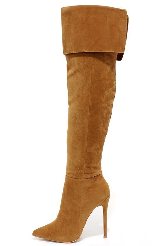 Sexy Chestnut Brown Boots - Over the Knee Boots - High Heel Boots ...