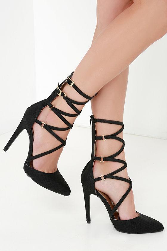 Sexy Black Heels - Snakeskin Heels - Caged Heels - Black Pumps ...