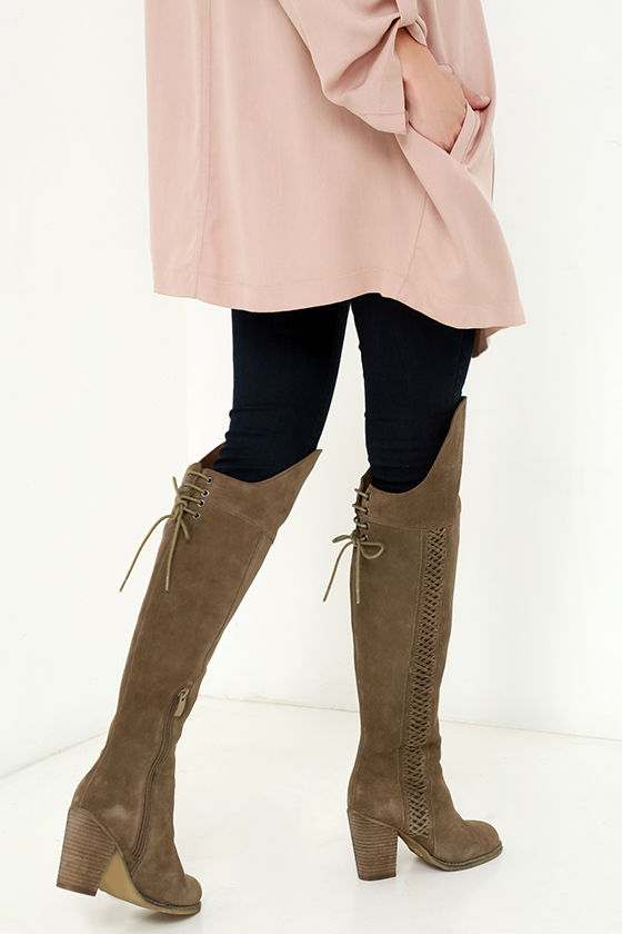 361b6981b2f Cute Khaki Boots - Over the Knee Boots - High Heel Boots -  147.00