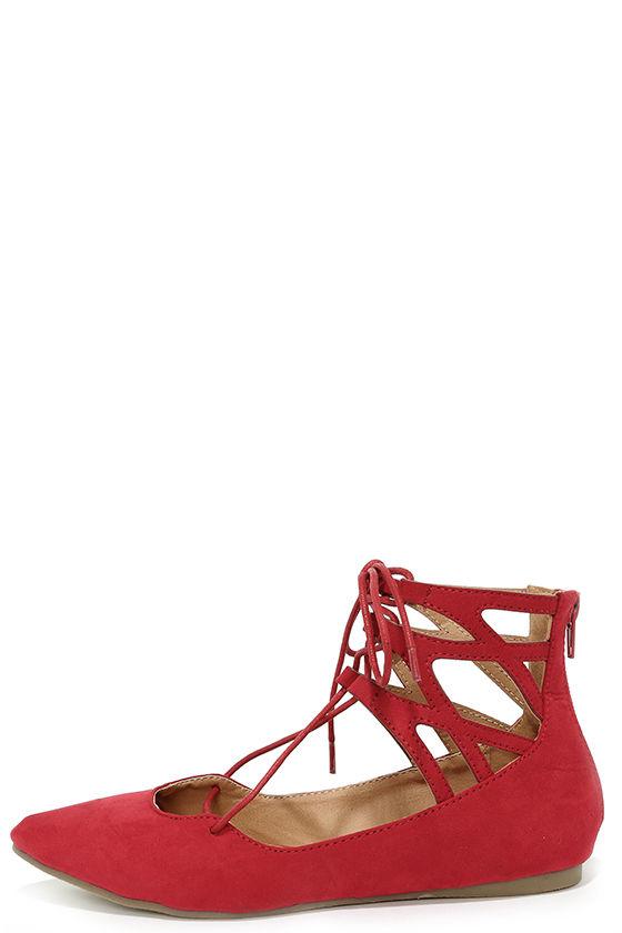 bb2f21eec7df Cute Red Flats - Lace-Up Flats - Cutout Flats -  28.00
