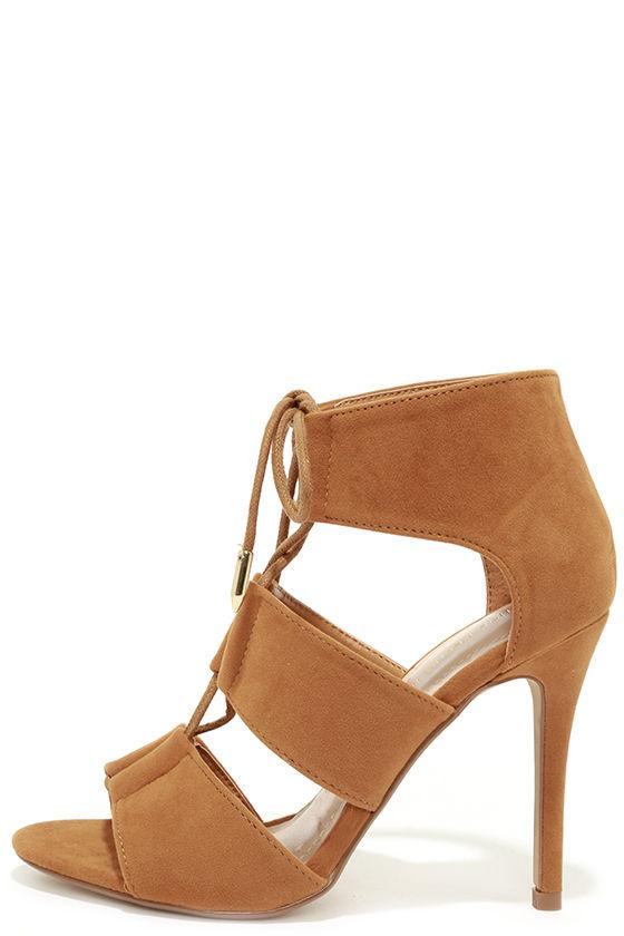 Cute Brown Heels - Lace-Up Heels - Caged Heels - $36.00