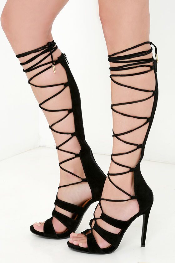 Sexy Black Heels - Lace-Up Heels - Caged Heels - $49.00