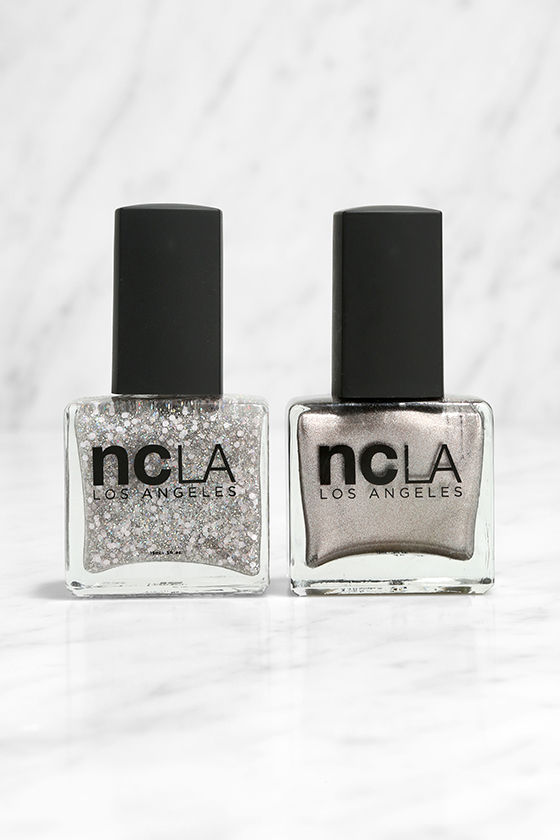 NCLA Match Made in Cali Sparkle & Shine Silver Nail Lacquer Set 1
