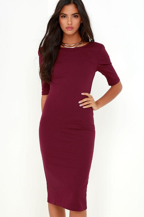 Cute Burgundy Dress - Midi Dress - Bodycon Dress - Cocktail Dress ...