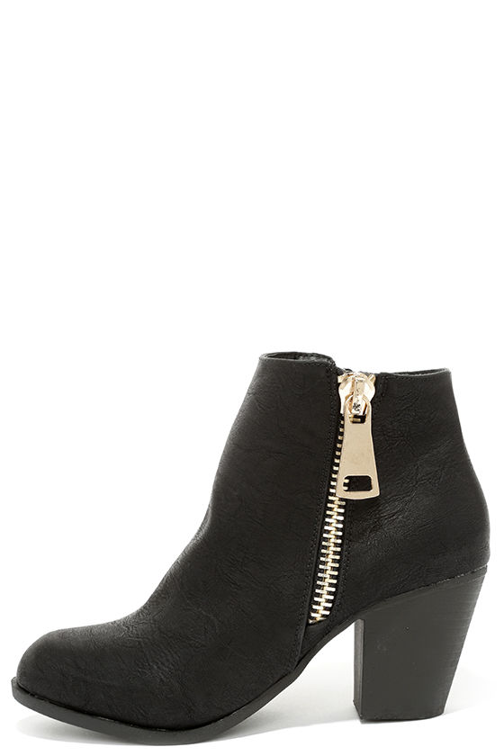 Cute Black Boots - High Heel Boots - Ankle Boots - Booties - $38.00