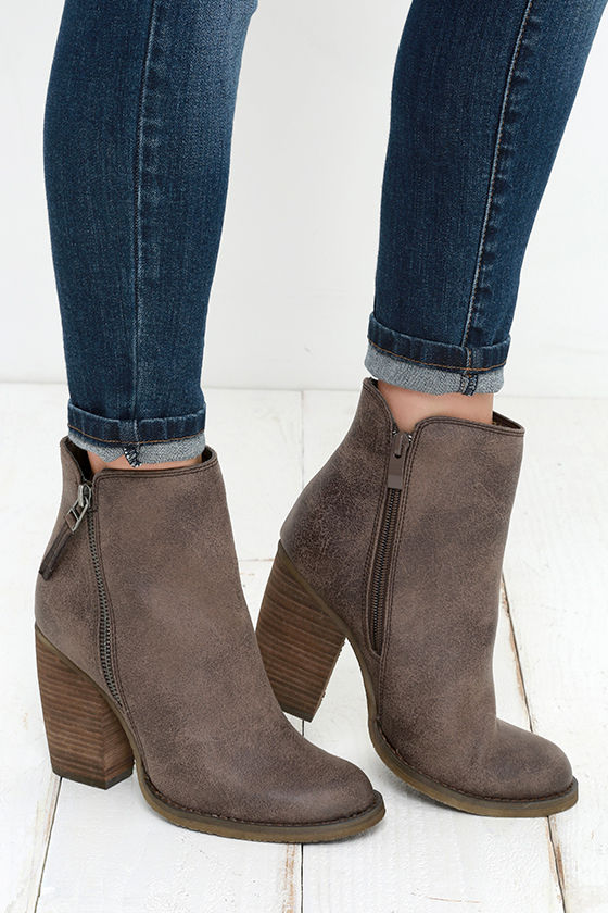 ddc6ede74ad1 Cute Taupe Booties - High Heel Booties - Ankle Boots -  69.00