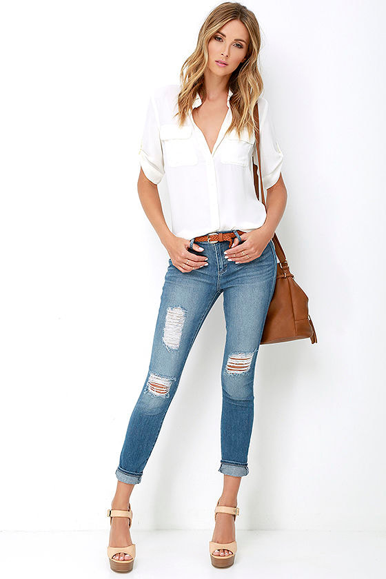 Dittos Kelly - Distressed Jeans - Ankle Skinny Jeans - Medium Wash ...