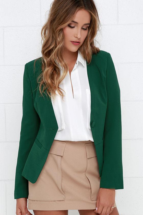 Chic Dark Green Blazer Cropped Blazer Collarless