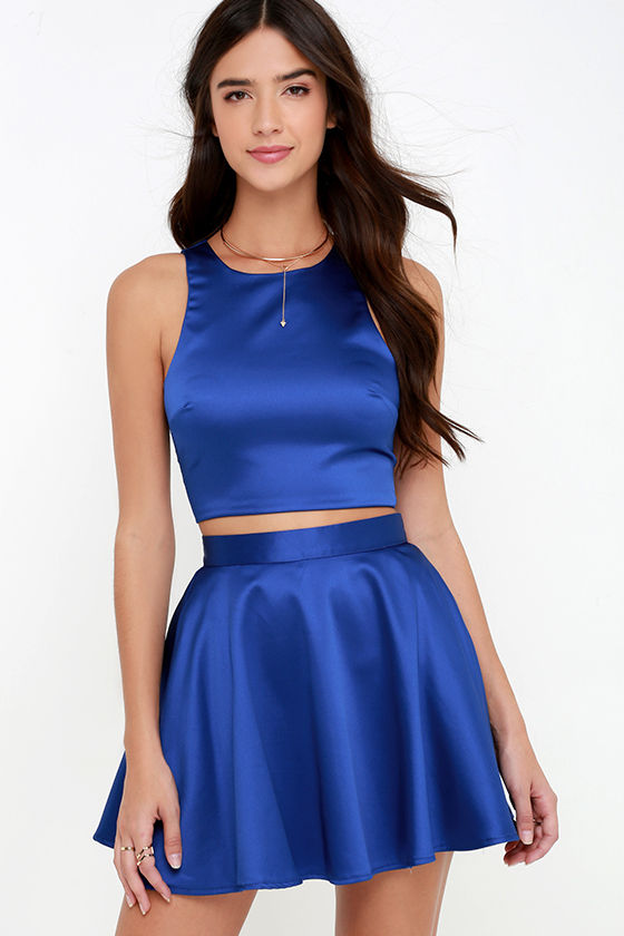 b634a94176 Cute Royal Blue Dress - Two-Piece Dress - Skater Dress - $66.00