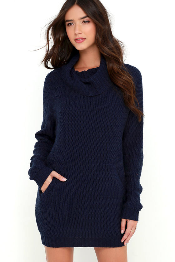 Navy Blue Dress - Sweater Dress - Long Sleeve Dress - $69.00