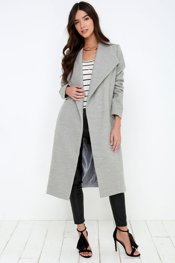 Chic Grey Coat - Felted Coat - Long Jacket - $89.00