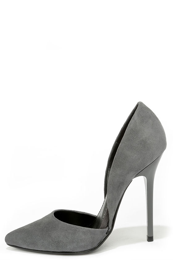 Pretty Grey Suede Pumps D Orsay Pumps D Orsay Heels