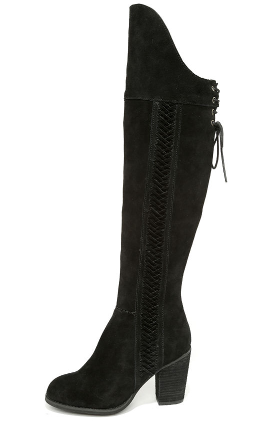 black boots the knee boots high heel boots