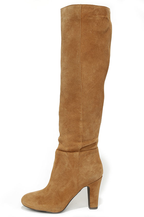 Cute Tan Boots - Suede Boots - Knee High Boots - High Heel Boots ...
