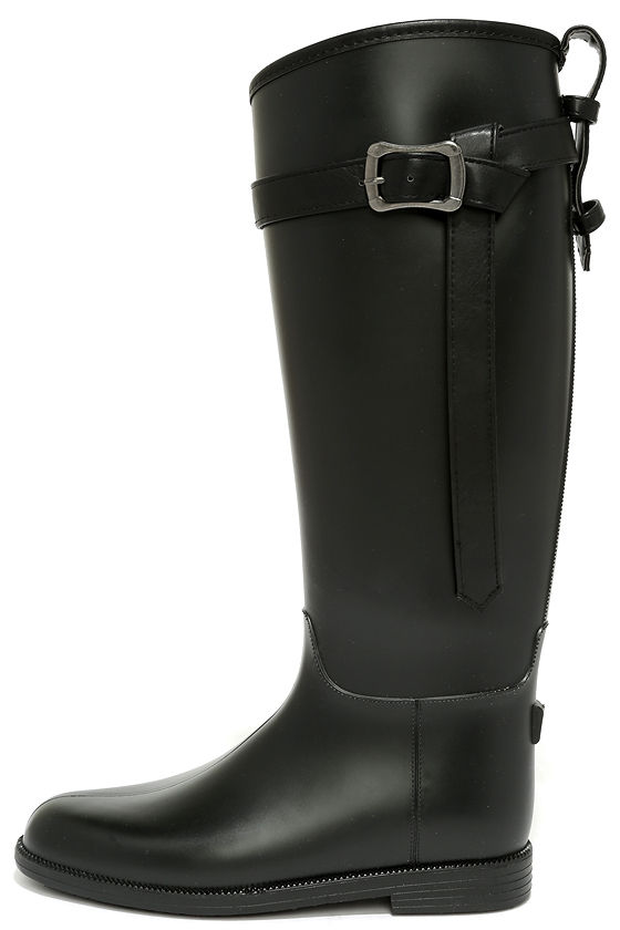 Cute Black Rain Boots - Tall Rain Boots - Cute Rain Boots - $49.00