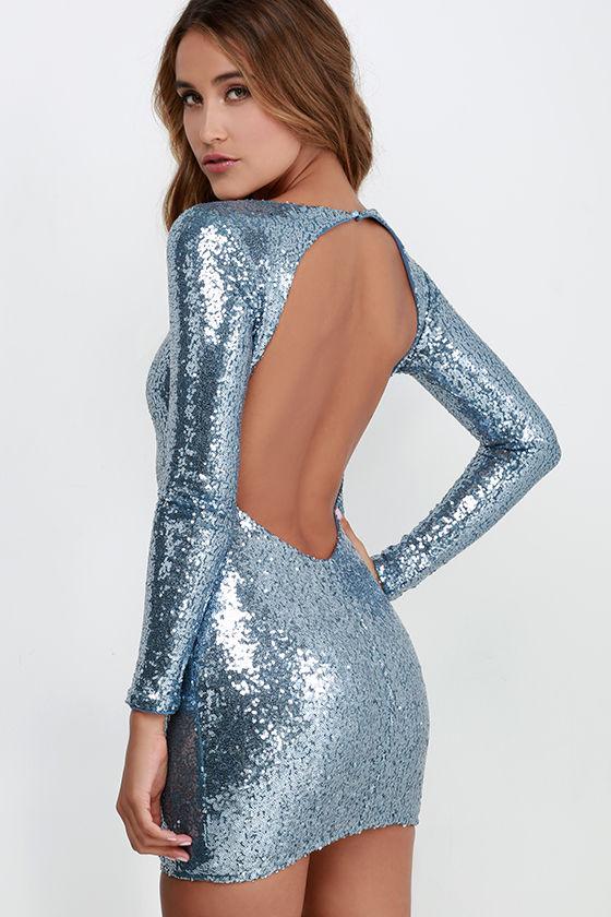 Sequin Dress - Blue Silver Dress - Backless Dress - Long Sleeve ...