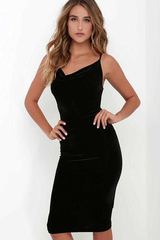 Black Dress - Velvet Dress - Midi Dress - Cowl Neck Dress - $42.00