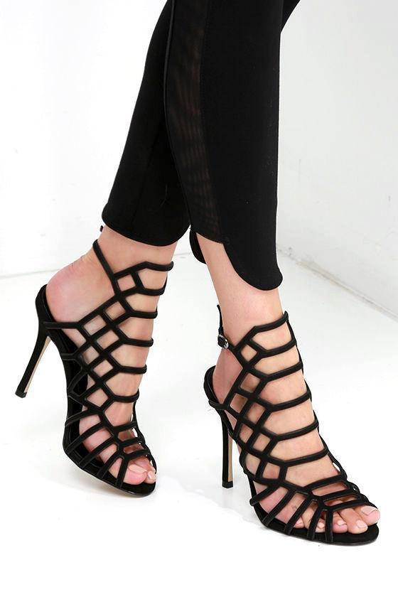 166eb9680012 Steve Madden Slithur - Black Caged Heels - Leather Heels -  109.00