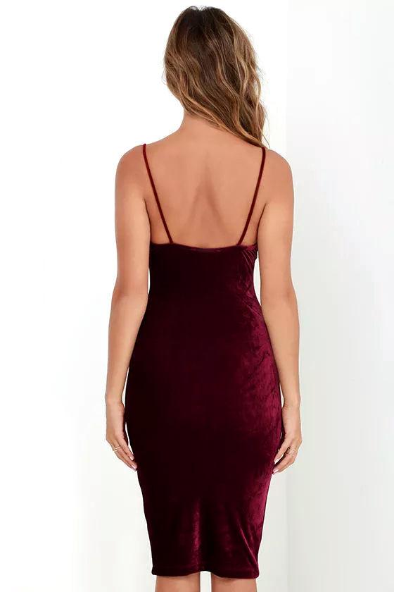 Jazzy Belle Burgundy Velvet Dress 4