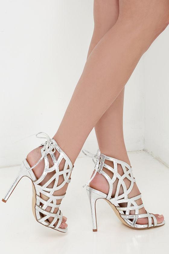 16897068a8b Sexy Silver Heels - Metallic Heels - Vegan Leather Heels -  37.00