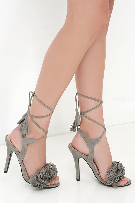 1ae1d6fc57f Sexy Grey Heels - Tassel and Fringe Heels - Lace-Up Heels -  34.00