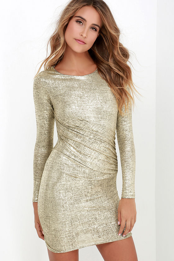 Sexy Gold Dress - Long Sleeve Dress - Wrap Dress - $46.00