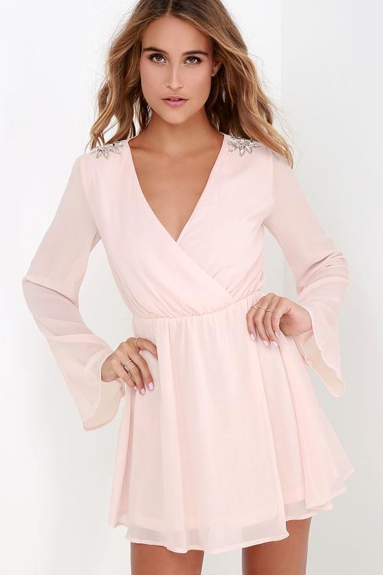Pretty Blush Pink Dress - Beaded Dress - Wrap Dress - Long Sleeve ...