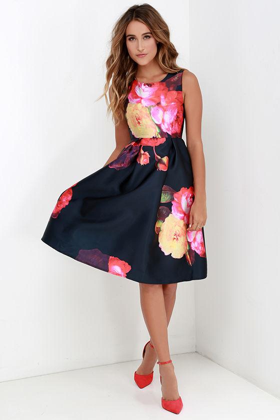 Ballroom Bloom Navy Blue Floral Print Midi Dress 1