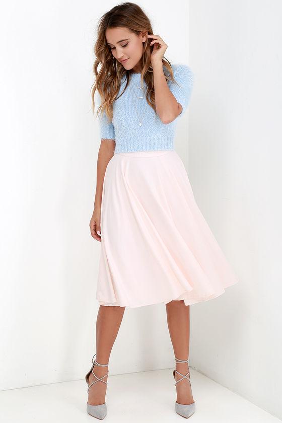 Chic Pale Blush Skirt - Midi Skirt - High-Waisted Skirt - $41.00