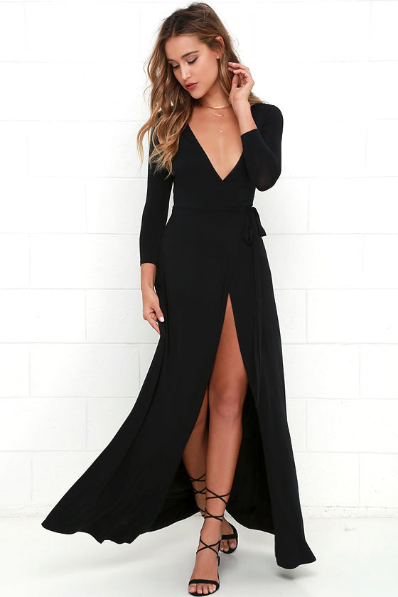 Garden District Black Wrap Maxi Dress 1