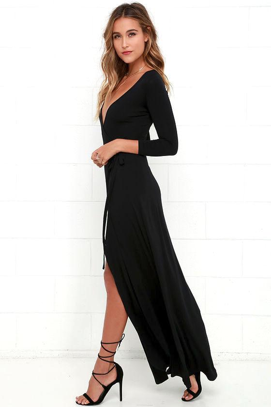 Garden District Black Wrap Maxi Dress 4