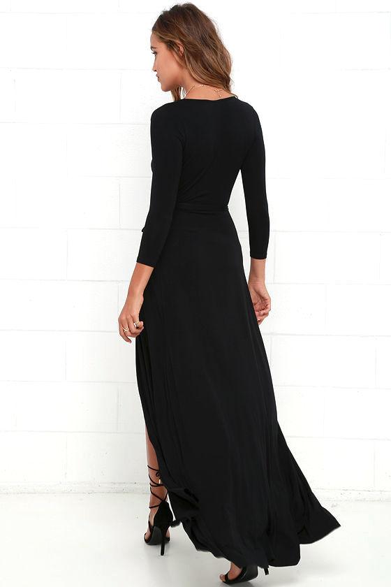 Garden District Black Wrap Maxi Dress 5