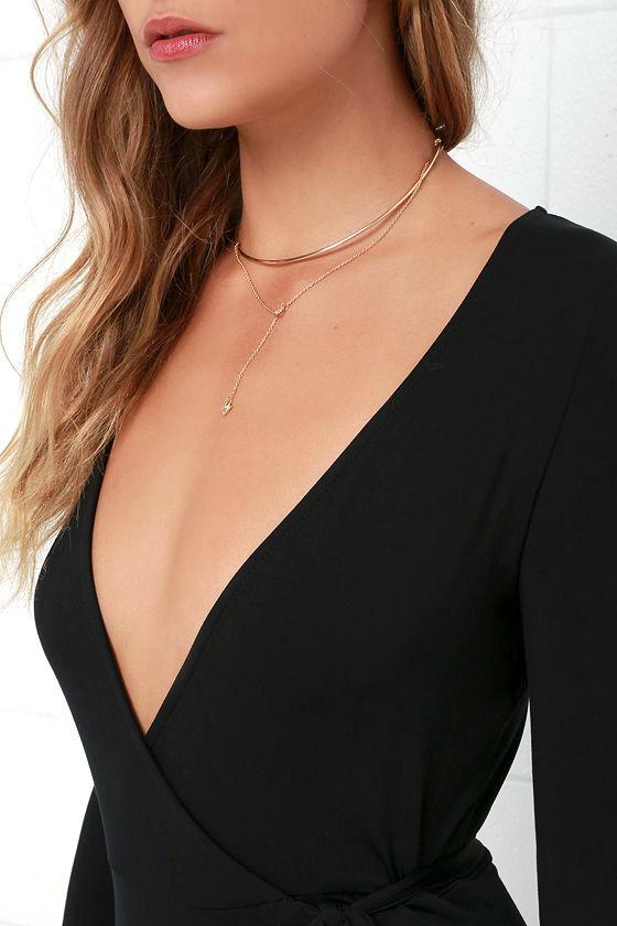 Garden District Black Wrap Maxi Dress 6