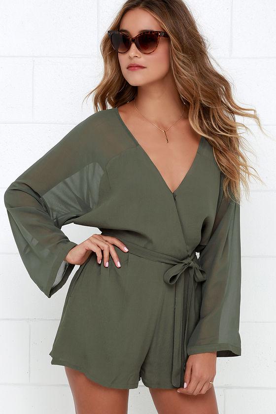 73f833aa26d Sexy Olive Green Romper - Sheer Romper - Long Sleeve Romper -  54.00
