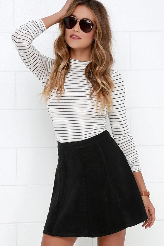 025994cb5f3 Cute Black Skirt - Suede Skirt - A-line Skirt - Embroidered Skirt - $42.00