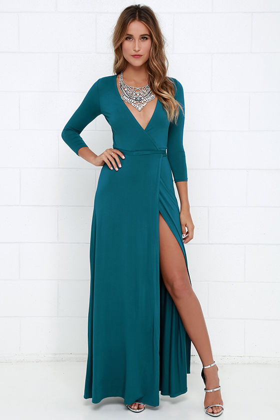 Lovely Teal Blue Maxi Dress - Wrap Dress - Wrap Maxi Dress - $68.00