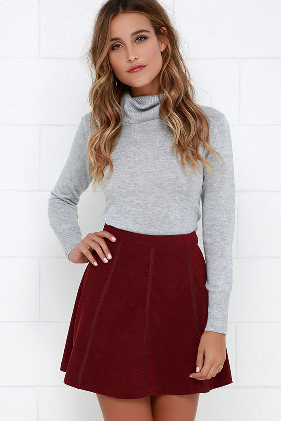 Cute Wine Red Skirt - Suede Skirt - A-line Skirt - Embroidered ...