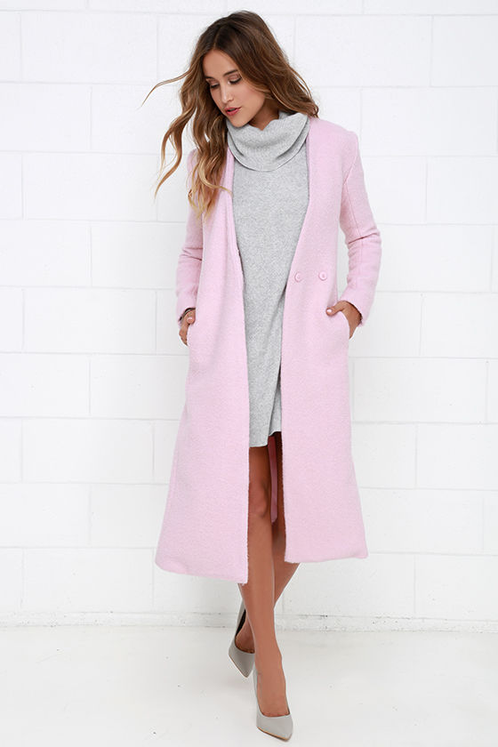Light Pink Coat - Wool Coat - Collarless Coat - Long Coat - $134.00